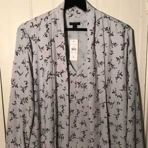Ann Taylor Woman's Light Blue Floral Dress Shirt